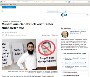 Schlampig recherchiert oder versteckte Sympathie? Die Neue Osnabrücker Zeitung bietet einem Milli Görüs-Funktionär ein Podium – hier ein Screenshot der Webseite des Blattes.