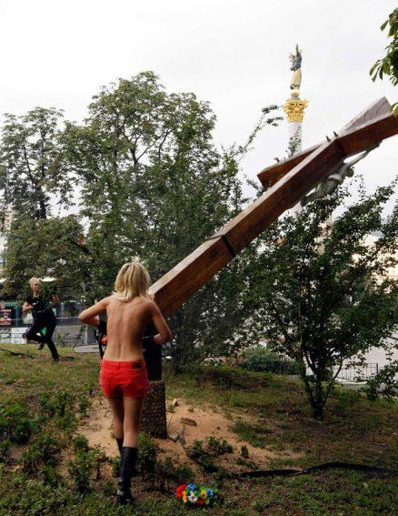 Kettensäge-Aktion in Kiew, Foto: femen.org